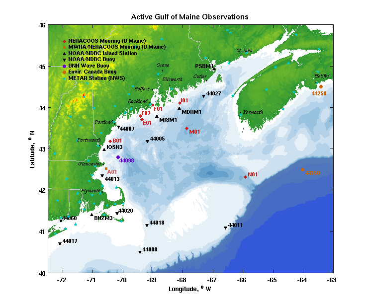 Gulf of Maine Observing Stations