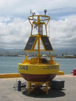 Second view of CARICOOS buoy PR101 on the dock before deployment