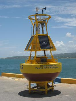 CARICOOS Buoy PR101 (Light List A) on the dock before deployment